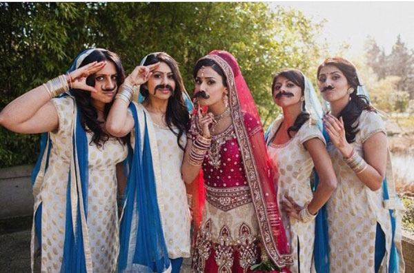 Indian bridesmaids duties   Bride's friends   BFF photos from Indian wedding   Indian bride and her friends with moustaches