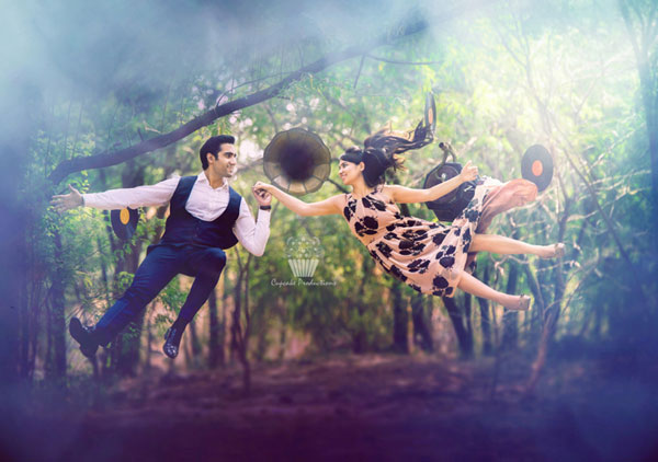 Find the perfect wedding photographer in delhi NCR | Pre wedding shoot tips for Indian couples | vintage style pre wedding shoot with Indian couple levitating in air and gramophones and lp records flying