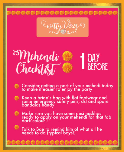 The ultimate Indian mehendi planning checklist | a day before timeline for mehendi planning