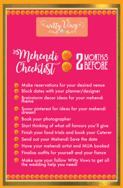 The ultimate Indian mehendi planning checklist   2 month timeline for mehendi planning