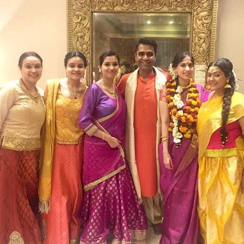 amrit and sukriti's delhi wedding.   south Indian wedding pooja   bride in pink kanjivaram saree