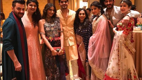 sanjay kapoor, sonam kapoor arjun kapoor and Mohit marwah at their brother's wedding in Abu dhabi