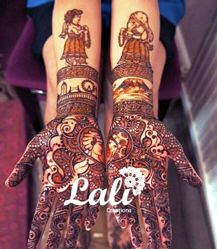 bridal mehndi design | Mehndi idea | Henna designs | Henna story with couple's home towns London eye and mountains