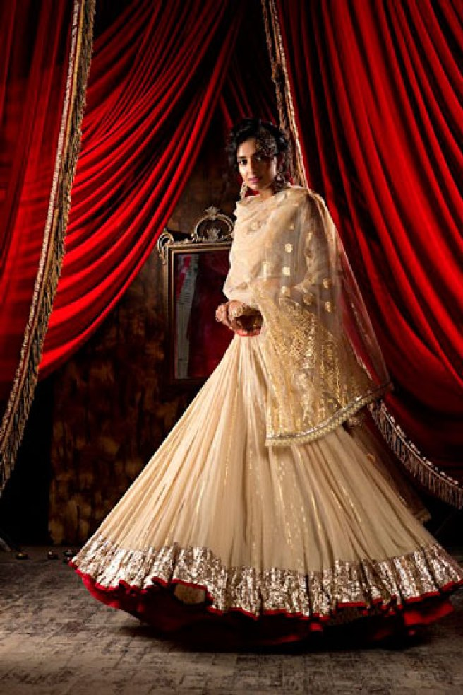 Beige gold creme Anarkali with gold gota border and gold work on the dupatta | Anju modi | Warehouse by Mudita | Designer outfits | affordable Designer wear | Fashion deal |