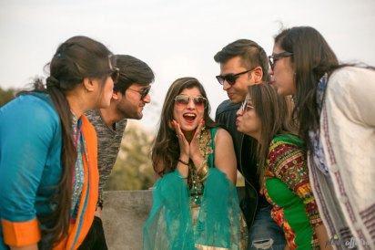 Indian bride pre wedding shoot with her friends | bride with sunglasses