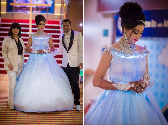 Neeta Lulla white gown with glowing lights | Adel and Sana Reception | Indian bride white gown for reception | top bun with loose curls and a tiara