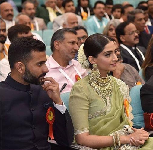 Sonam Kapoor at the National film Awards in a green and silver Anamika Khanna saree