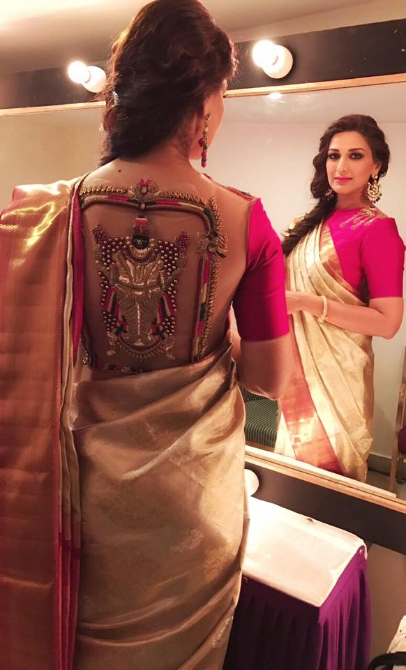 Latest blouse styles   new blouse styles to love   latest blouse designs for Indian brides   Pink Saree blouse with a sheer back and a goddess motif in dab work sonali Bendre