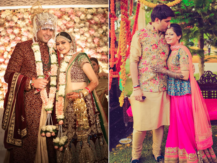 Purva and Sahil   wedding in delhi   Father daughter wedding photos   Indian couple wearing coordinated colour outfits   Bride and groom in Burgundy sherwani and lehenga with green and gold accents   Indian bride and groom in beige outfits with pink and blue and gold floral work on the waistcoat and blouse