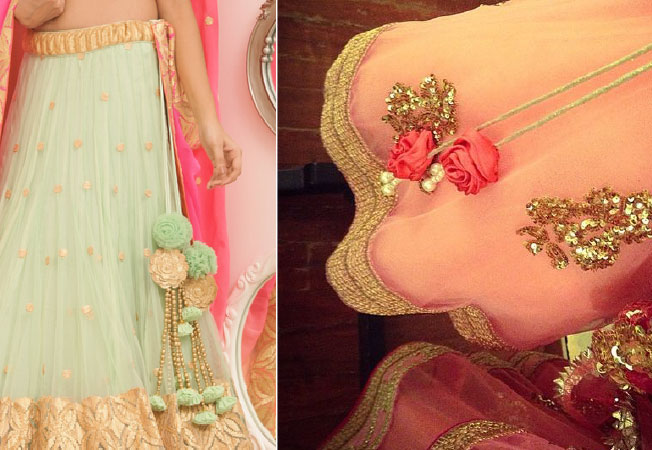 lehenga latkan ideas to spruce up your wedding lehenga | personalised latkans in different shapes | carriage shaped wedding lehenga latkans | Kitsch Flower latkans in pastel colours