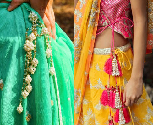 lehenga latkan ideas to spruce up your wedding lehenga | personalised latkans in different shapes | Pearl tassels | pearl latkans