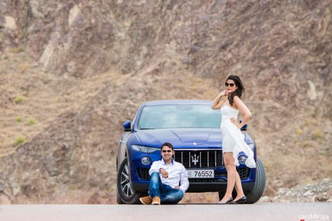 first anniversary idea, anupriya and ankit, aniversary photoshoot | Indian couple photoshoot in Dubai with a blue sports car