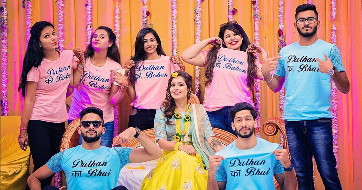 Squad accessories for Indian Weddings | Team bride metallic Badge that you can use | Ideas for the bride's side bridesmaids | Team bride Indian bridesmaids cousins of etc bride wearing customised fun t shorts with Fulham ka bhai and Fulham ki been on them | Indian bridesmaids photoshoot idea