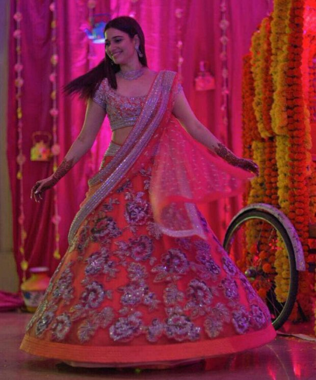 Tamannaah Bhatia at her brothers wedding in Mumbai flaunting pretty sister of the groom looks | sister of the groom in an orange and silver Neeta Lulla lehenga doing the twirl