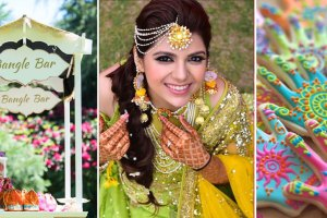 Teej party ideas   Teej Celebrations   Indian Mehendi with a bangle bar for favours  white cart with pretty signage and favours for guests   indian bride wearing a half mathapatti in gota with gota earrings in a green lehenga