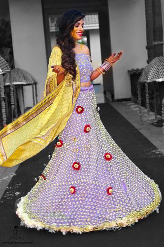 Nindiya and Nirmal | Indian bridal lehenga | Real flower lehenga | The bride DIY mehendi lehenga carved out of real flowers is an amzing wedding trend idea to follow.