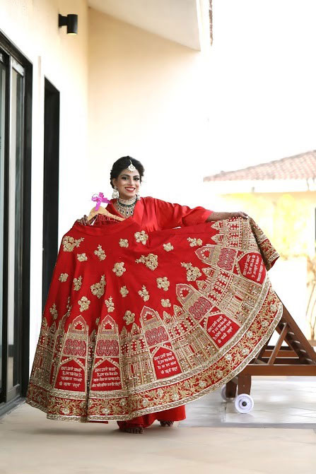 New lehenga styles, Gorgeous lehenga ideas, Unique lehengas | Wedding Nama | NINdiya Kothari with her red lehenga with golden embroidery | bride customises her wedding lehenga with her 7 wedding vows | lehenga by Olga by Jay