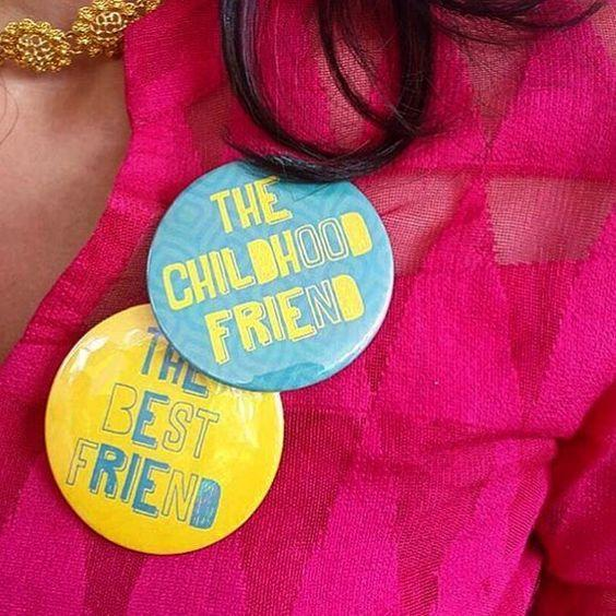 Squad accessories for Indian Weddings | Team bride metallic Badge that you can use | Ideas for the bride's side bridesmaids | team bride Badges | Bridesmaid's Gift ideas | Bridesmaid with a badge for childhood friend and best friend