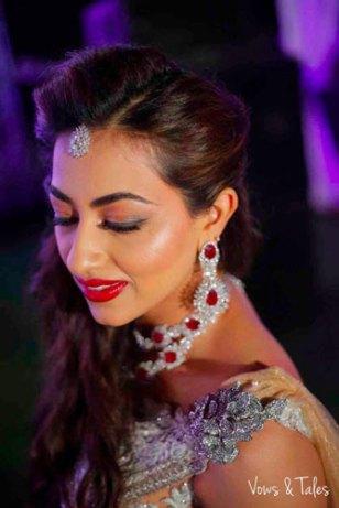 Bavleen and Kushal   Destination wedding in Goa   The bride looks beautiful in her diamond jewelriy.