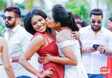 Netika and Kushank | Destination wedding in Jaipur | The bride showering love on her bridesmaid as they share a cute moment.