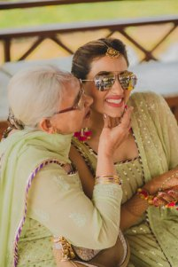Bavleen and Kushal   Destination wedding in Goa   The color coordinated jodi of the bride and her grandmother looks so beautiful.