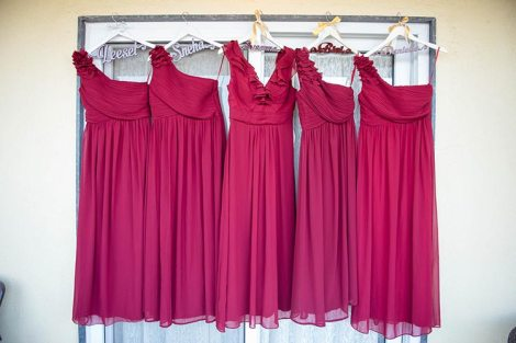 Joshua and Shona   Christian wedding   DIY ideas   The marsala bridesmaid gown in personalized hangers looks beautiful.