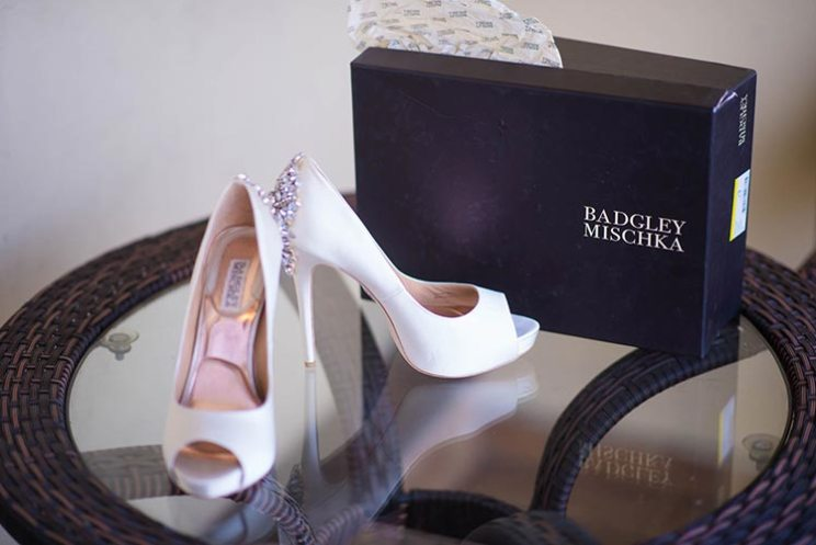 Joshua and Shona | Christian wedding | DIY ideas | The white bridal stilettos look so great.