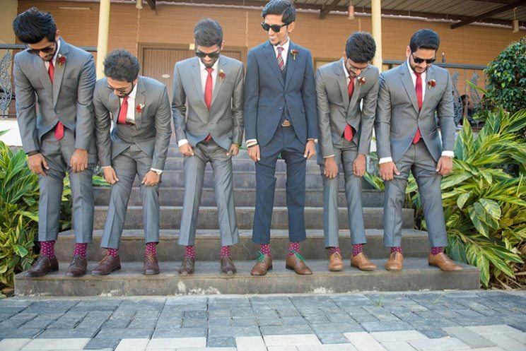 Joshua and Shona | Christian wedding | DIY ideas | The groom with his gang of boys flaunting their matching socks.