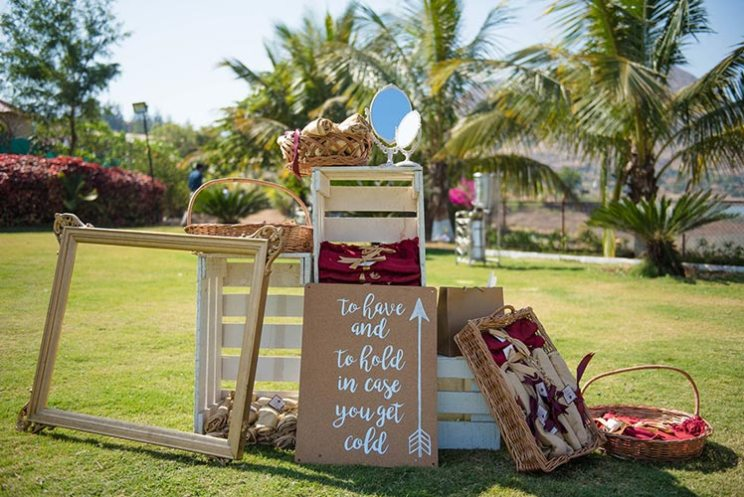 Joshua and Shona | Christian wedding | DIY ideas | The quirky and creative box of marsala and gold shawls for the cold weather is just so cool.