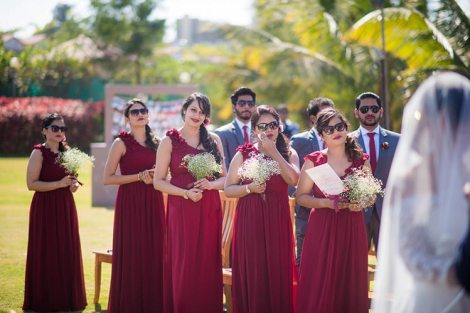 Joshua and Shona   Christian wedding   DIY ideas   The gang of girls in marsala gowns look so amazing.