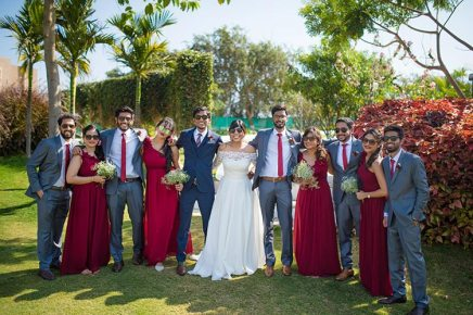 Joshua and Shona   Christian wedding   DIY ideas   The bride and the groom with their perfectly color coordinated gang of friends.