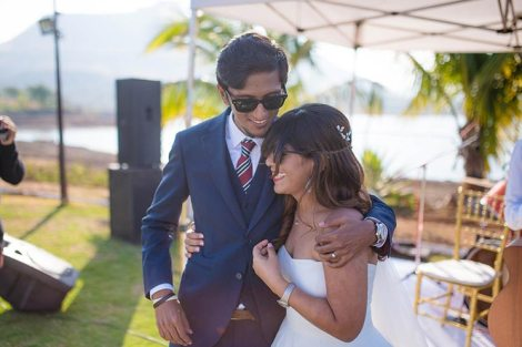 Joshua and Shona   Christian wedding   DIY ideas   The bride and the groom smiling and sharing a hug.