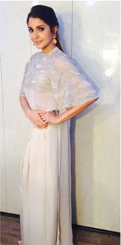 Bridesmaid's Dress ideas bollywood flaunted a.k.a Totally trendingWedding Outfit ideas for the Bride's Best friend | Anushka Sharma in a nude and silver jumpsuit with sequin work