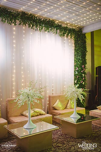 Jaya and Anish | Roka ceremony | Flower decor | The lounge covered with flower and foliage looks breath taking.