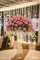 Jaya and Anish | Roka ceremony | Flower decor | The pink flower bouquet looks great as a decor.