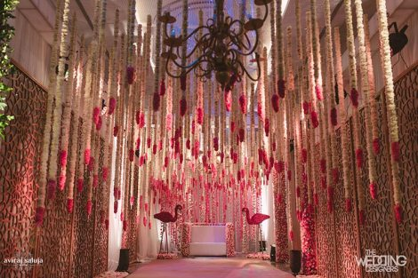 Jaya and Anish | Roka ceremony | Flower decor | The hanging flower decor looks beautiful.
