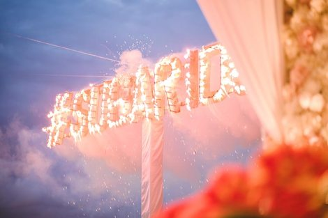 Sagar and Subiya | Destination wedding in Bali | The hashtag illuminating with fireworks.