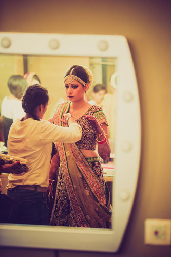 Last minute touchups on bride | Bridal lehenga shopping