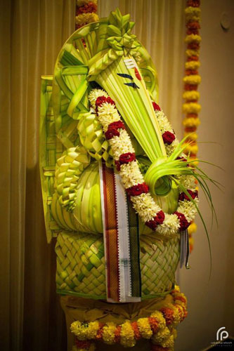 Stunning coven leaf match work Ganesh ji | South Indian decor | pooja decor ideas| Ganesh Chaturthi ideas | amazing Ganesh idols