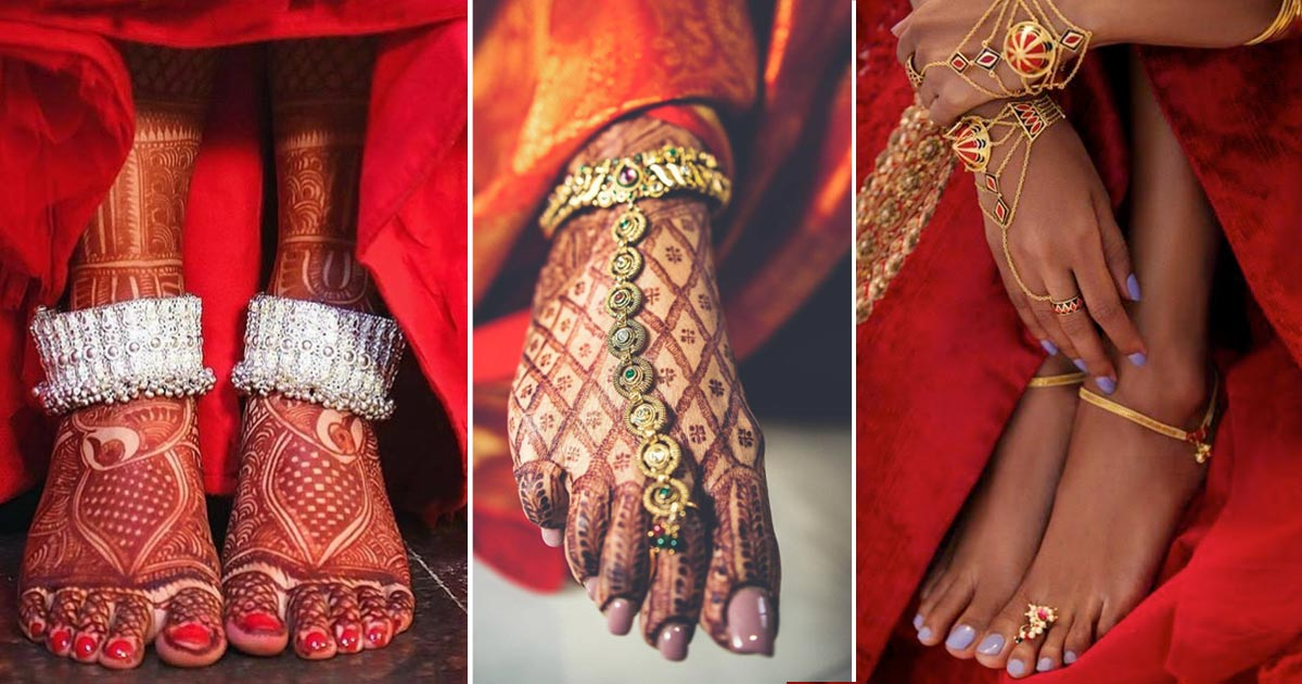 indian bridal paayal designs | bridal jewellery details - Indian bridal anklet for the wedding day ensemble