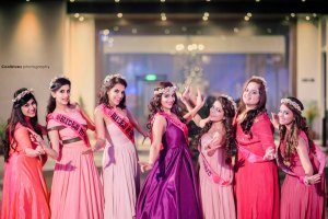 Indian bachelorette game ideas | Coolbluez photography | Indian bride with her fun bachelorette bridesmaids wearing matching sach