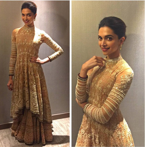 Bridesmaid's Dress ideas bollywood flaunted a.k.a Totally trendingWedding Outfit ideas for the Bride's Best friend | Deepika Padukone wearing full gold Abu Jani and Sanddep lehengas and designer long blouse