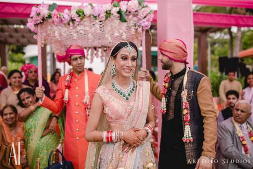 Bride in Pink & blue lehenga | #Trending & HOW - Choose your bridal Lehenga colour from the HOTTEST colours of 2017!