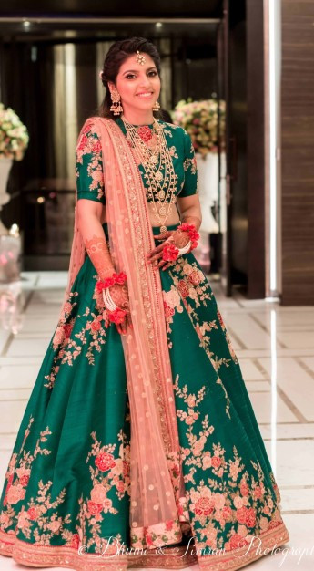 Emerald green lehenga by Sabyasachi | #Trending & HOW - Choose your bridal Lehenga colour from the HOTTEST colours of 2017!