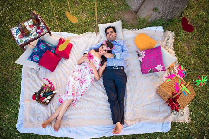 Date night ideas | picnic date pre wedding shoot with wine and a picnic basket | shiv sharma photography
