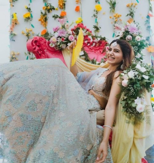 Powder blue lehenga for mehendi | #CHAYSAM wedding - A Movie worthy celebration of love – that WE LOVED!