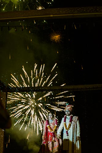 fireworks behind the jaimala platform