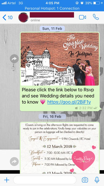 Tars chatbot wedding invitation | WittyVows reviews | E-invite ideas from the ShraNav Wedding