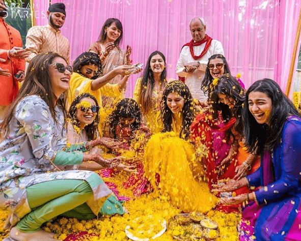 Haldi with bridesmaids |