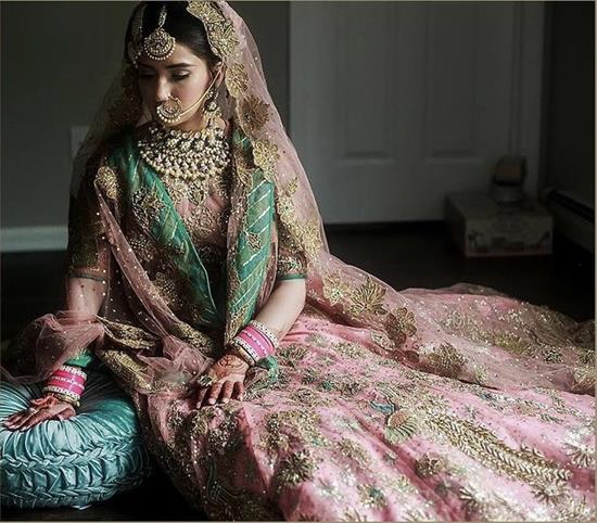 Post wedding photo shoot ideas | Sikh Weddings | day weddings | Pastel pink lehenga | Coordinated outfits for bride and groom | Indian wedding Photography | Couple Portrait | Day wedding look ideas |